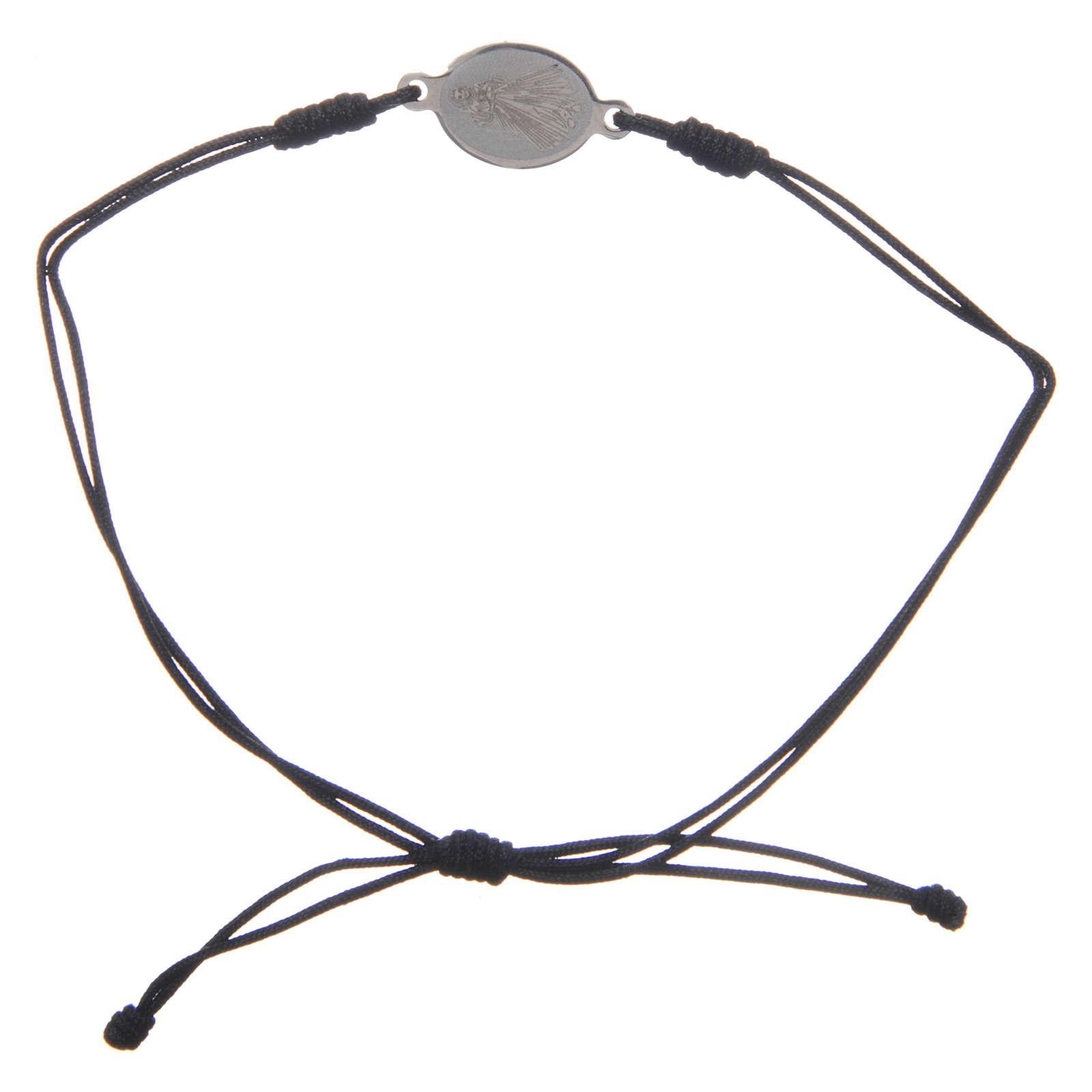 Bracciale Medjugorje corda nero medaglietta 4