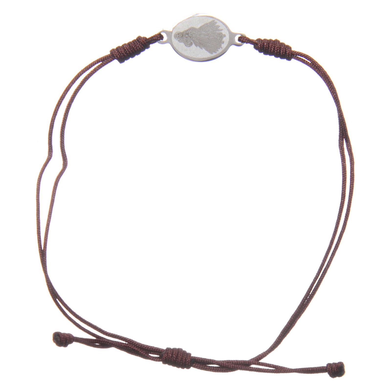 Pulsera Medjugorje cuerda marrón pequeña medalla 4