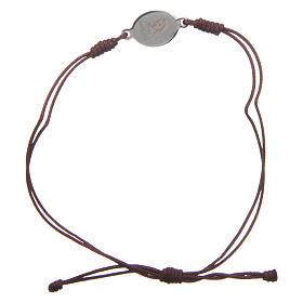 Pulsera Medjugorje cuerda marrón pequeña medalla s1