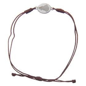 Pulsera Medjugorje cuerda marrón pequeña medalla s2