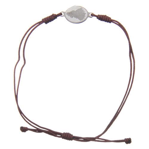 Pulsera Medjugorje cuerda marrón pequeña medalla 2