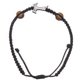 Medjugorje bracelet in black rope with Tau cross and two grains s1
