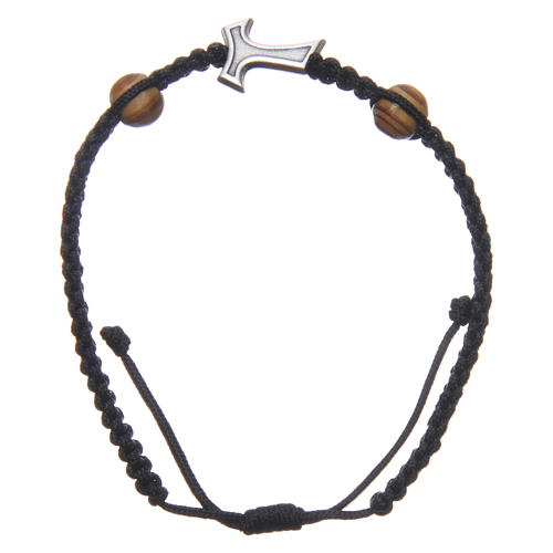 Medjugorje bracelet in black rope with Tau cross and two grains 1