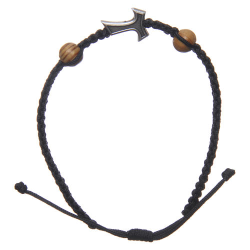 Medjugorje bracelet in black rope with Tau cross and two grains 2