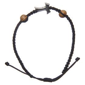 Pulsera Medjugorje cuerda negra cruz Tau 2 granos s2