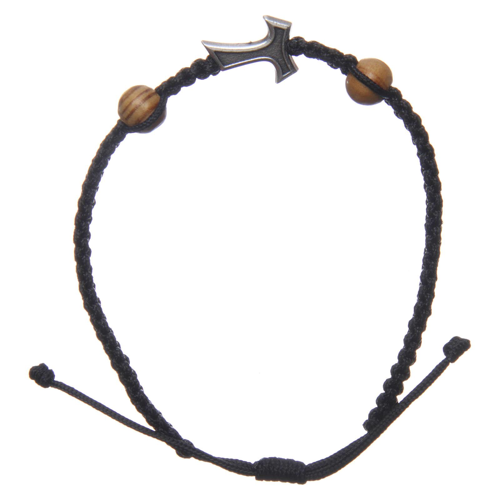 Bracciale Medjugorje corda nera croce Tau 2 grani 4
