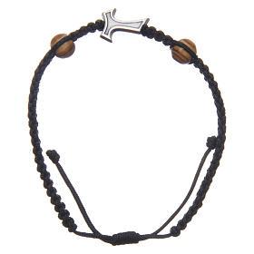 Bracciale Medjugorje corda nera croce Tau 2 grani s1