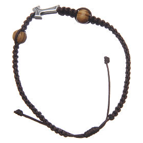 Medjugorje bracelet with Tau cross in metal and two grains on brown rope s2
