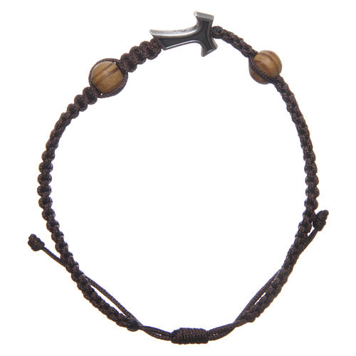 Medjugorje bracelet with Tau cross in metal and two grains on brown rope 1