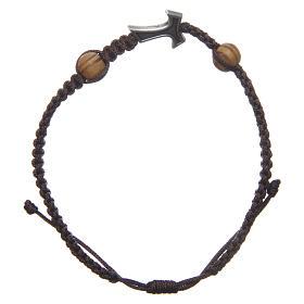 Bracelets, dizainiers: Bracelet Medjugorje corde marron croix tau 2 grains