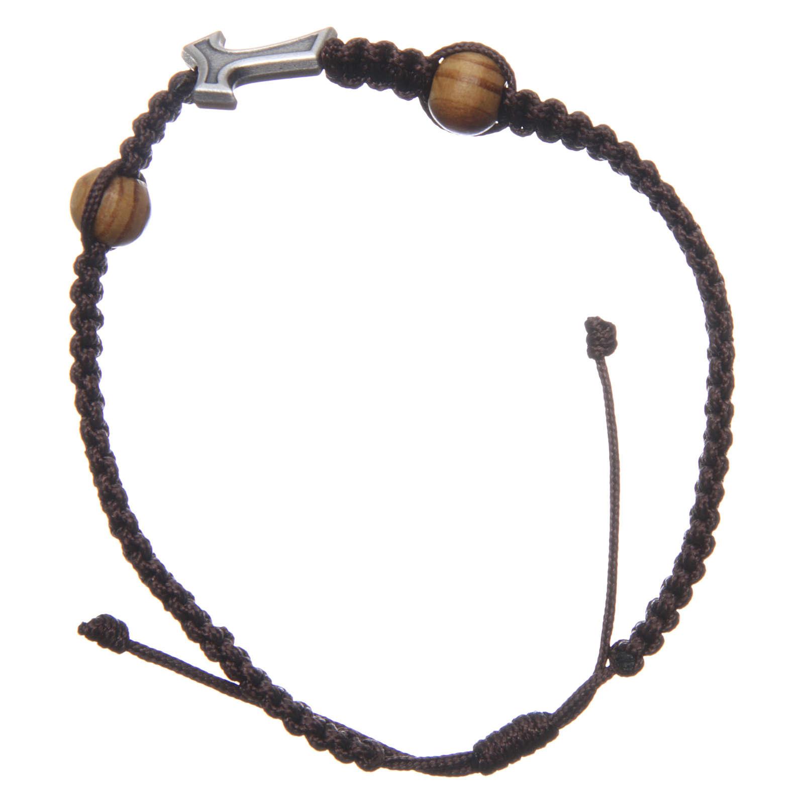 Bracciale Medjugorje corda marrone croce Tau 2 grani 4