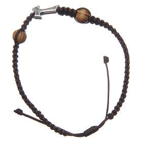 Bracciale Medjugorje corda marrone croce Tau 2 grani s2