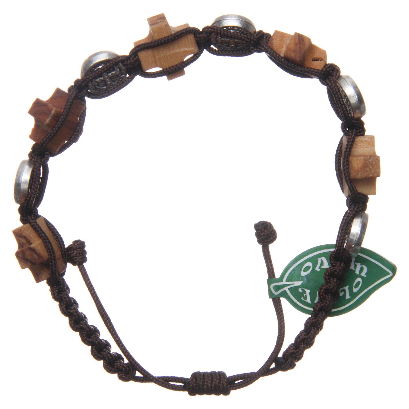 Bracelet Medjugorje médaille St Benoît et croix olivier 4