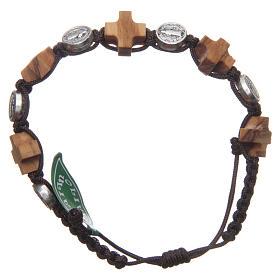Bracelet Medjugorje médaille St Benoît et croix olivier s1
