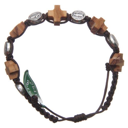 Bracelet Medjugorje médaille St Benoît et croix olivier 1