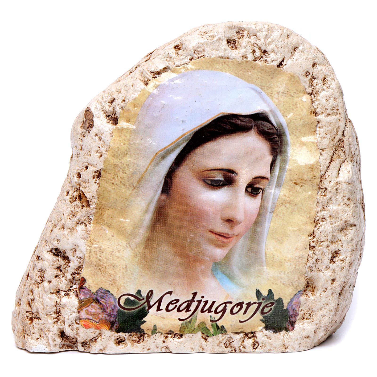 Quadretto da tavolo in gesso Madonna di Medjugorje 4