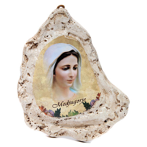 Our Lady of Medjugorje painting in gypsum 1
