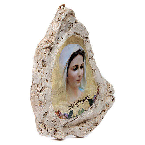 Our Lady of Medjugorje painting in gypsum 2