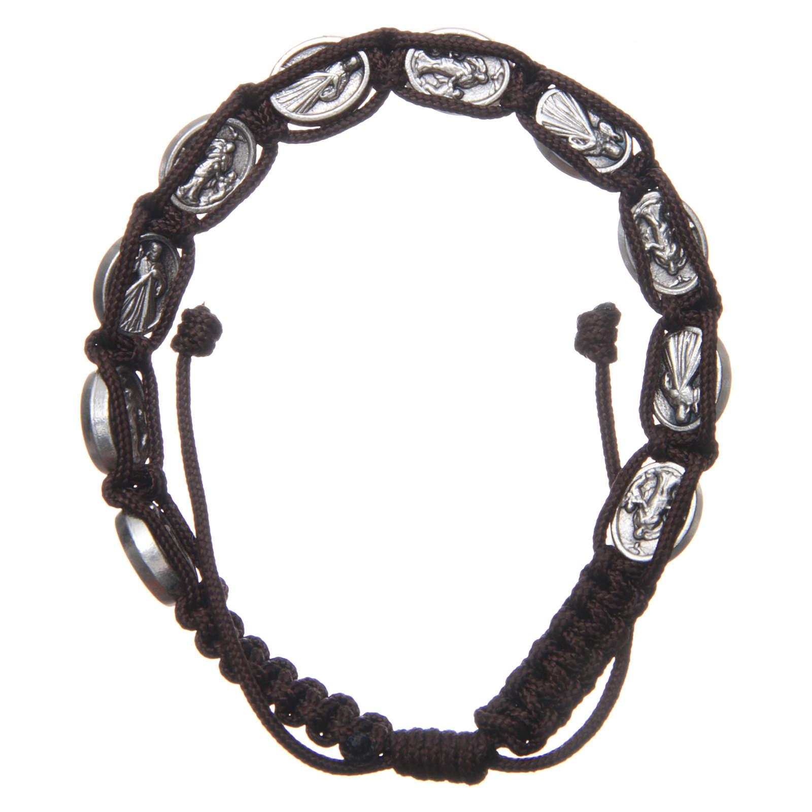 Bracelet Medjugorje médailles Jésus et Vierge corde marron 4
