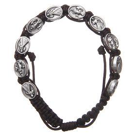 Bracelet Medjugorje médailles Jésus et Vierge corde marron s1
