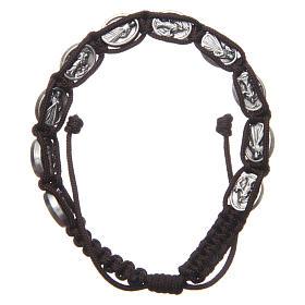 Bracelet Medjugorje médailles Jésus et Vierge corde marron s2