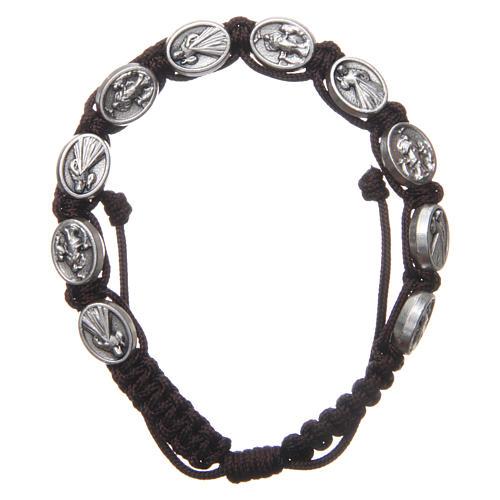 Bracelet Medjugorje médailles Jésus et Vierge corde marron 1