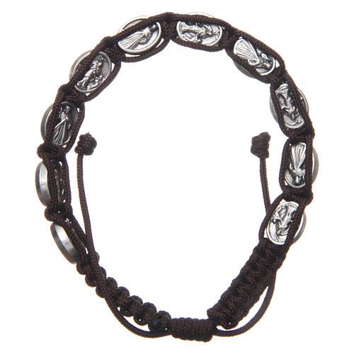 Bracelet Medjugorje médailles Jésus et Vierge corde marron 2