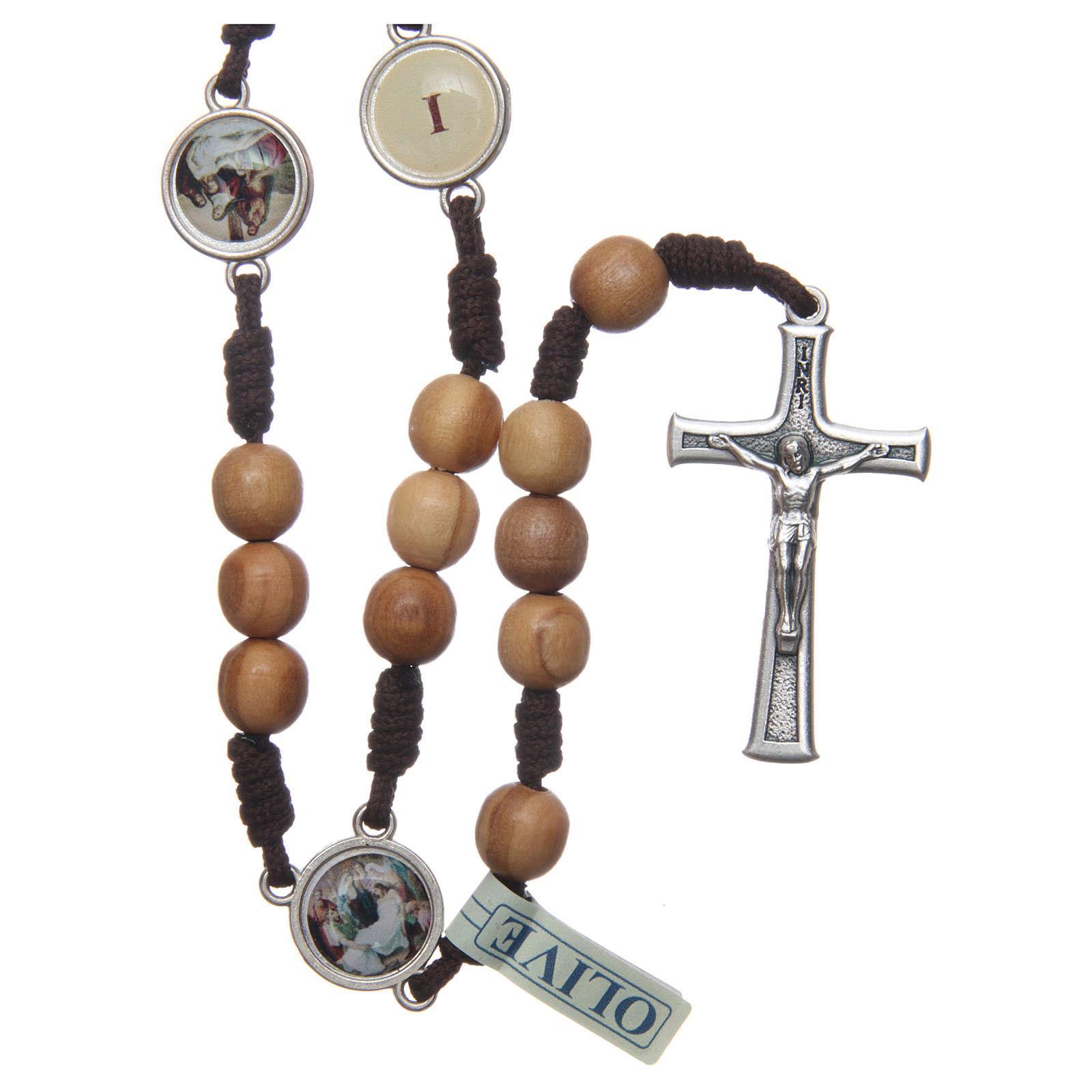 Rosario Medjugorje Via Crucis grani ulivo corda marrone 4