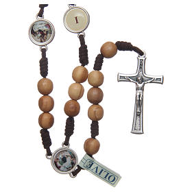 Rosario Medjugorje Via Crucis grani ulivo corda marrone s1