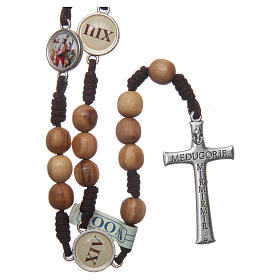 Rosario Medjugorje Via Crucis grani ulivo corda marrone s2