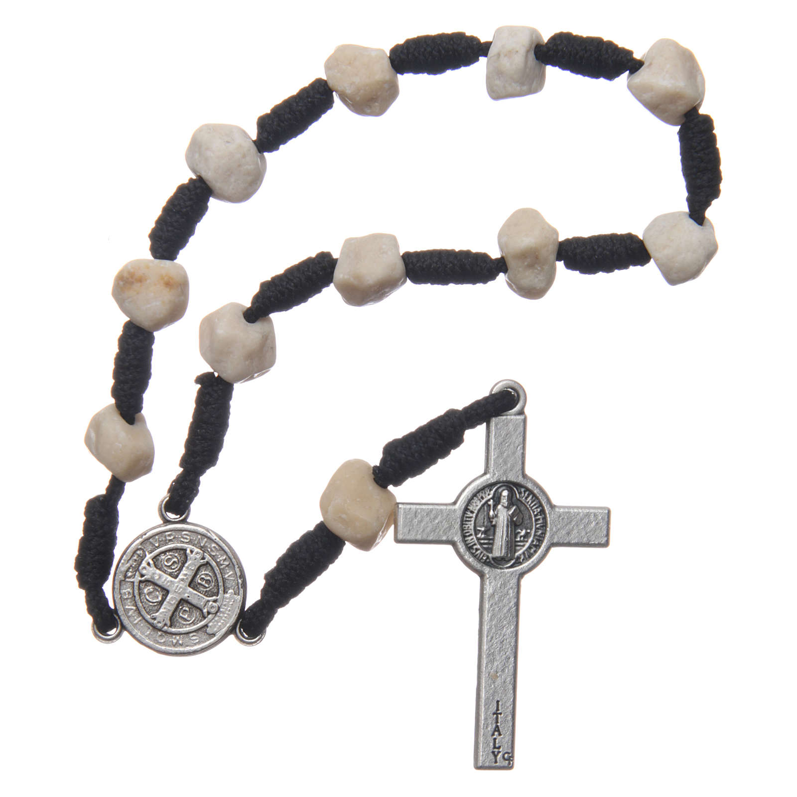 Medjugorje single decade bracelet with stone grains and Saint Benedict crucifix 4