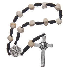 Medjugorje single decade bracelet with stone grains and Saint Benedict crucifix s2