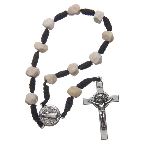 Medjugorje single decade bracelet with stone grains and Saint Benedict crucifix 1