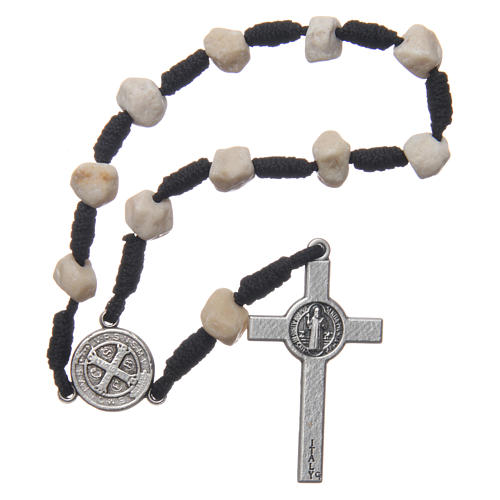 Medjugorje single decade bracelet with stone grains and Saint Benedict crucifix 2