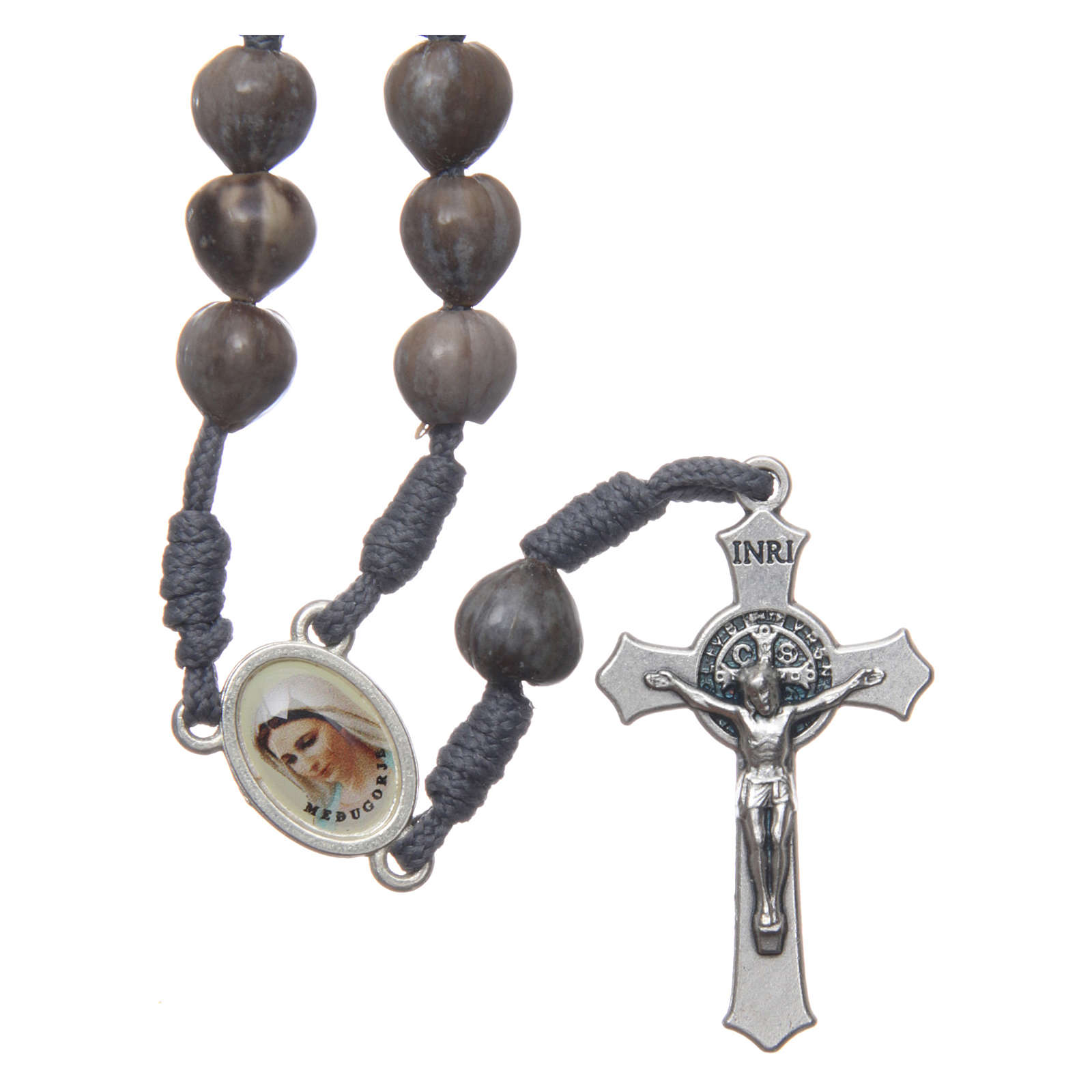 Medjugorje rosary beads Tears of Job grey rope 4