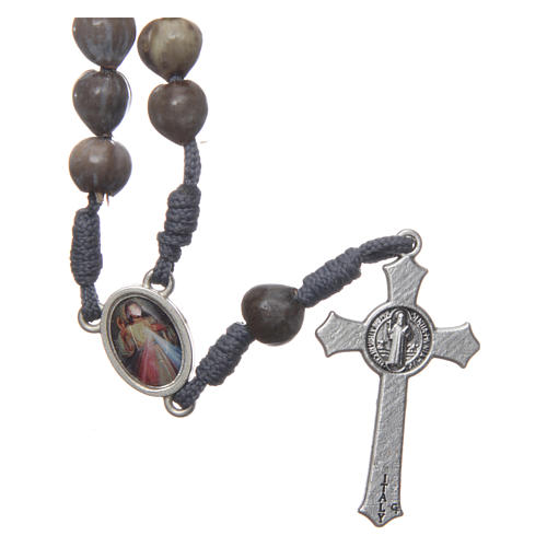 Medjugorje rosary beads Tears of Job grey rope 2
