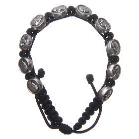 Bracelets, dizainiers: Bracelet dizainier Medjugorje médailles Vierge et Jésus corde noire