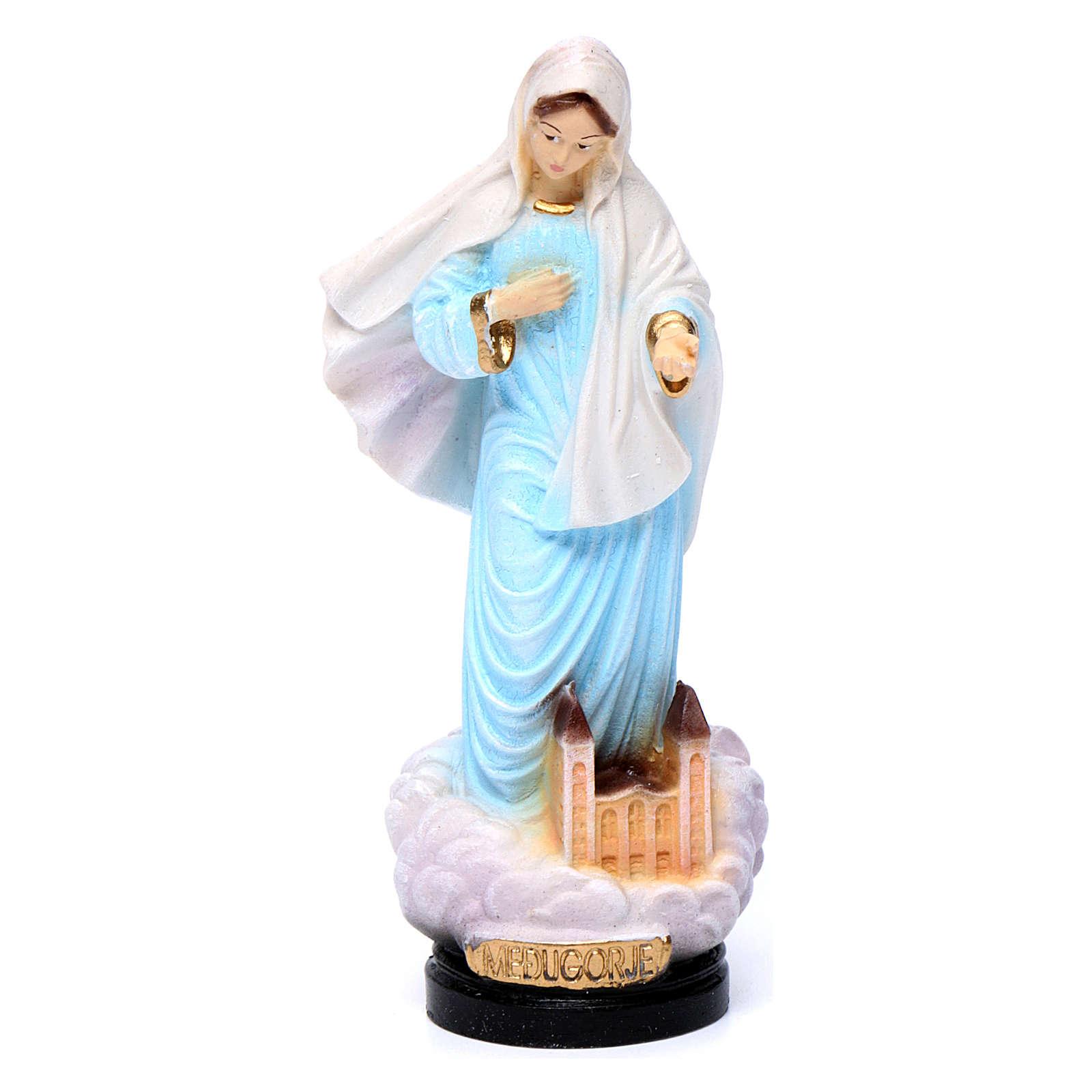 Estatua Virgen de Medjugorje 12 cm capa azul 4