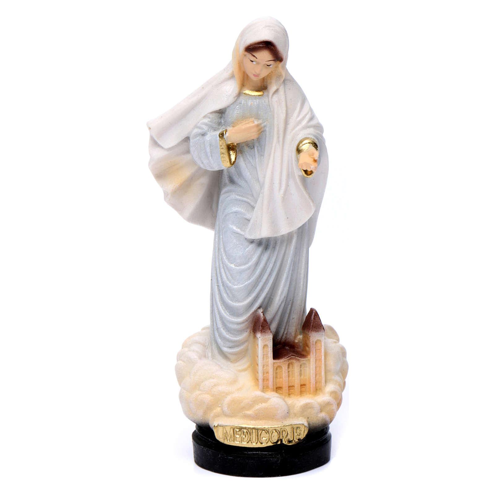 Estatua Virgen de Medjugorje 12 cm capa gris 4