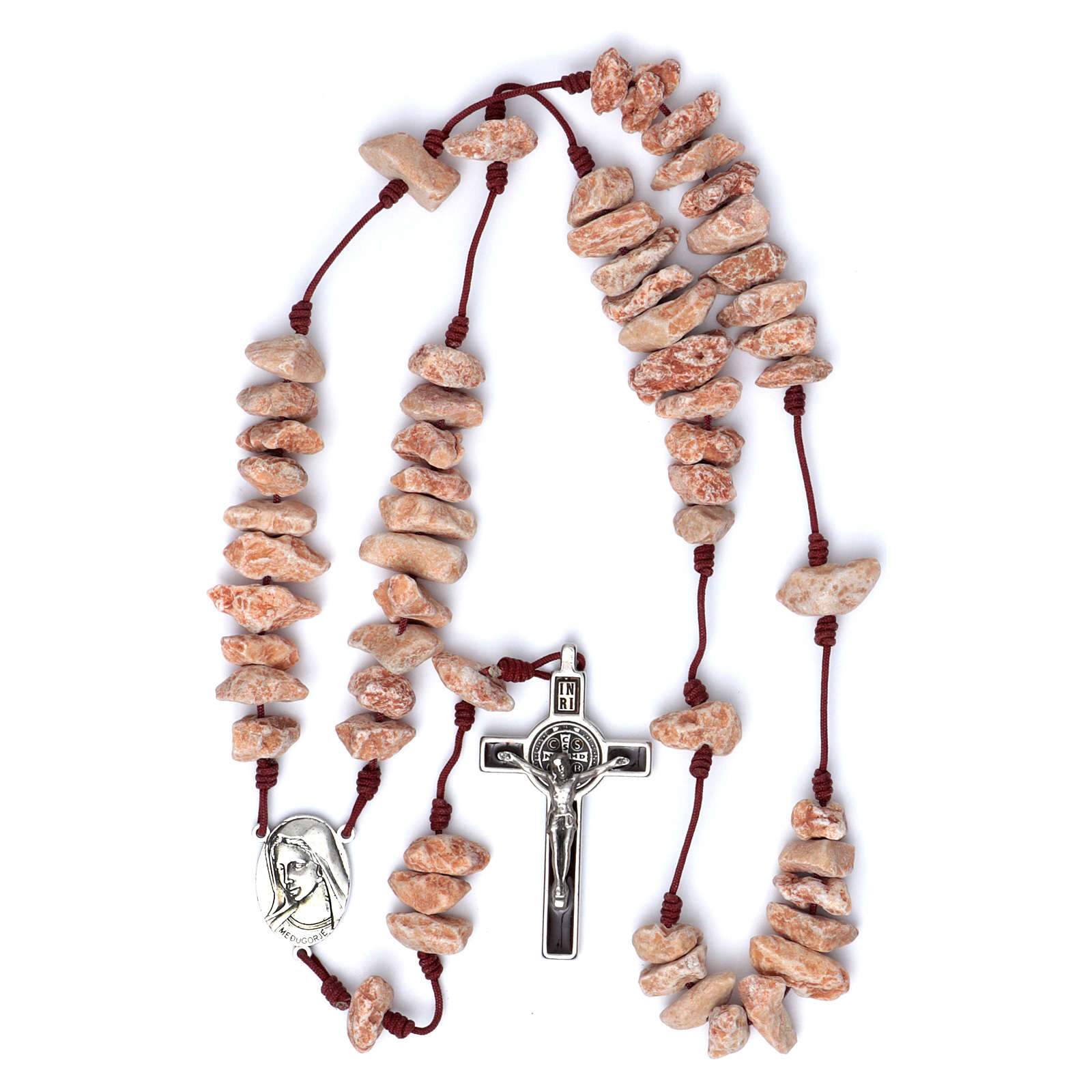 Medjugorje wall rosary in red stone 4