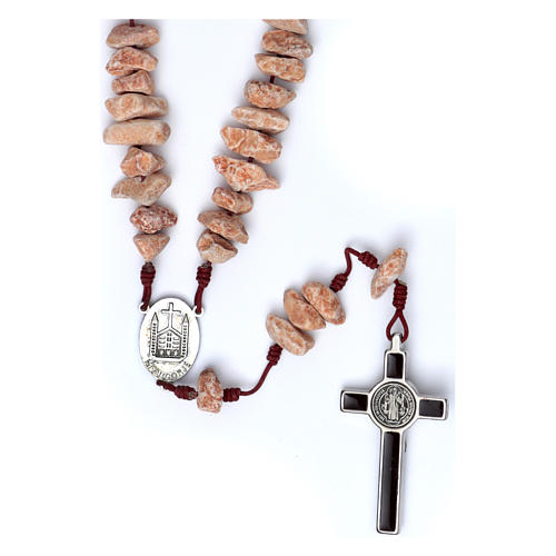Medjugorje wall rosary in red stone 2
