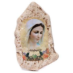 Imagen Virgen Medjugorje y flor de yeso s1