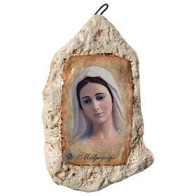 Imagen Virgen Medjugorje y flor de yeso s4