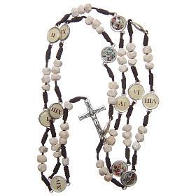 Rosenkranz aus Medjugorje, Perlen aus Stein auf brauner Kordel s4