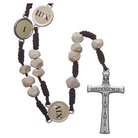 Rosario Medjugorje Vía Crucis granos piedra cuerda marrón s2