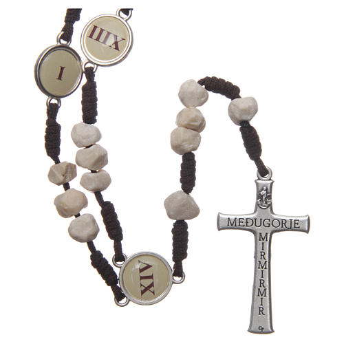 Rosario Medjugorje Vía Crucis granos piedra cuerda marrón 2