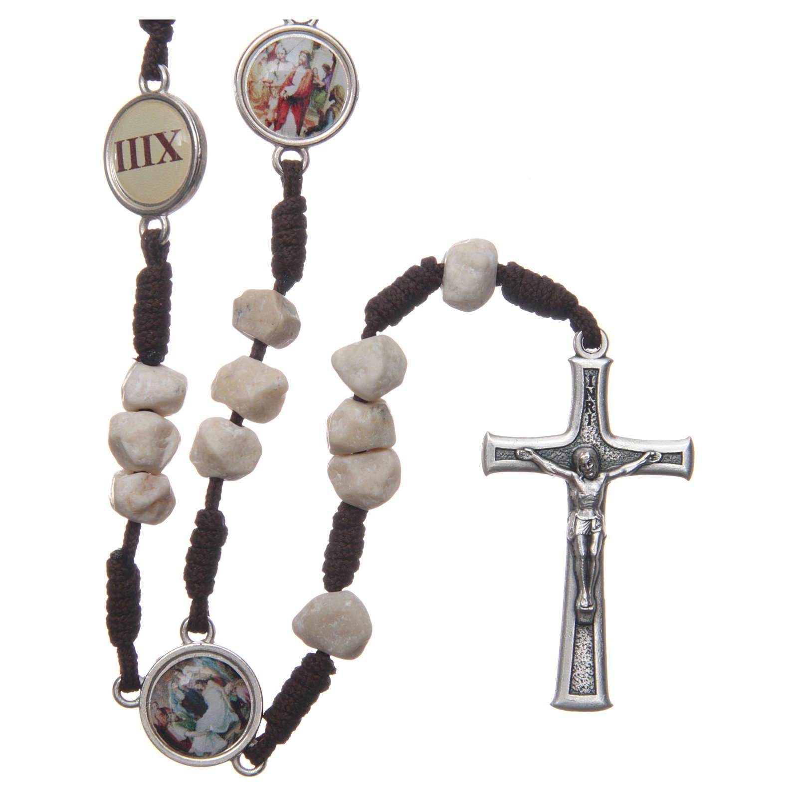 Chapelet Medjugorje Chemin de Croix grains pierre corde marron 4