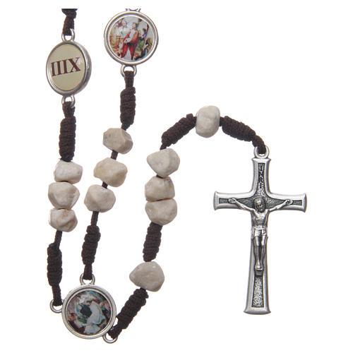 Chapelet Medjugorje Chemin de Croix grains pierre corde marron 1