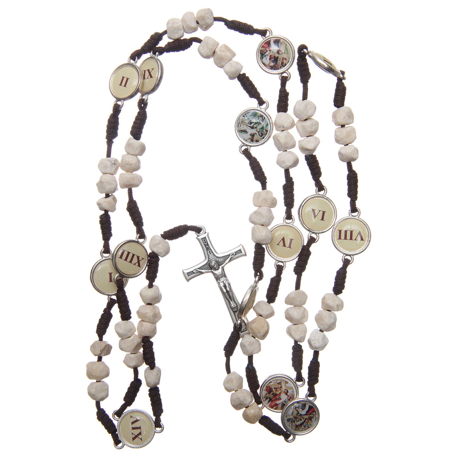 Różaniec Medjugorje Droga Krzyżowa koraliki kamień sznurek brązowy 4