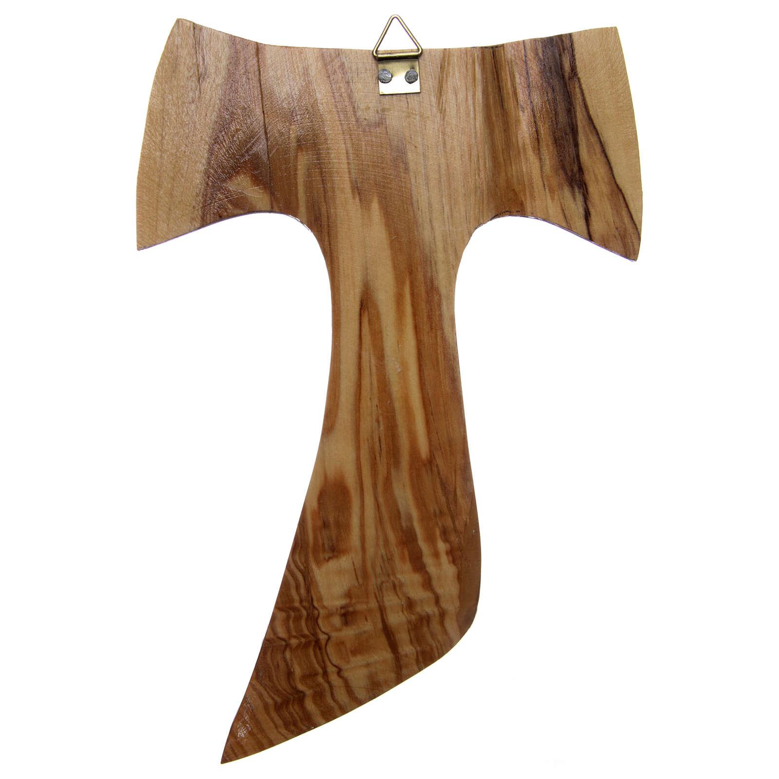 Cruz Tau oliveira Medjugorje 18x12 cm 4